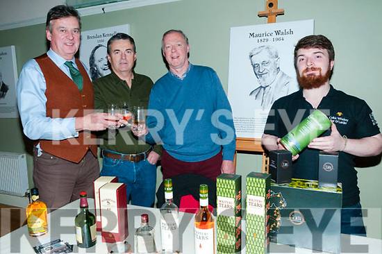 Pictured at the Maurice Walsh Whiskey Experience at the Seanchai Centre, Listowel as part of the Listowel food fair on Sunday night last were Gerard Leahy, Jim Doolan, Gerry O'Connor. Listowel and Alan O'Donoghue from the Irish Whiskey Experience, Killarney