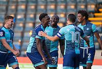 Celebrations following Adebayo Akinfenwa of Wycombe Wanderers first goal for the club during the Sky Bet League 2 match between Wycombe Wanderers and Accrington Stanley at Adams Park, High Wycombe, England on 16 August 2016. Photo by Andy Rowland.