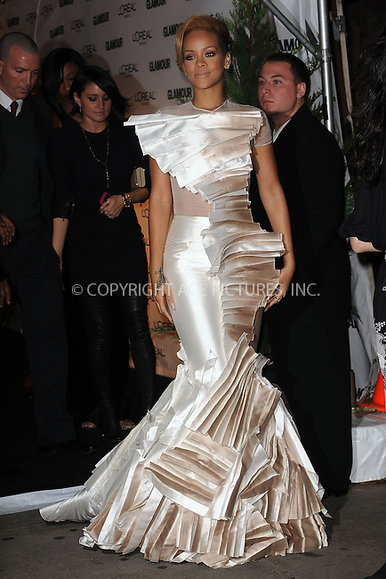 WWW.ACEPIXS.COM . . . . . ....November 9 2009, New York City....Singer Rihanna arriving at the Glamour Magazine 2009 Women of The Year Honors at Carnegie Hall on November 9, 2009 in New York City.....Please byline: KRISTIN CALLAHAN - ACEPIXS.COM.. . . . . . ..Ace Pictures, Inc:  ..tel: (212) 243 8787 or (646) 769 0430..e-mail: info@acepixs.com..web: http://www.acepixs.com