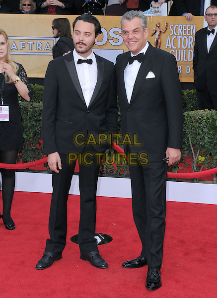 Danny Huston, Jack Huston.Arrivals at the 19th Annual Screen Actors Guild Awards at the Shrine Auditorium in Los Angeles, California, USA..27th January 2013.SAG SAGs full length black white tuxedo nephew uncle family beard facial hair .CAP/DVS.©DVS/Capital Pictures.