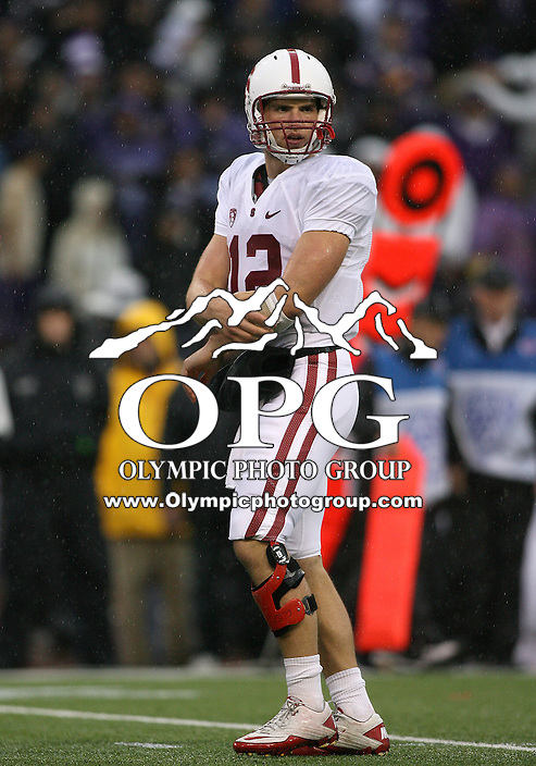 Oct 30, 20010:  Stanford quarterback #12 Andrew Luck looks to the sideline for the play against Washington.  Stanford defeated Washington 41-0 at Husky Stadium in Seattle, Washington.