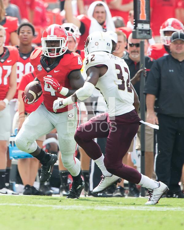 ATHENS, GEORGIA - September 5, 2015: University of Georgia Bulldogs vs. Louisiana-Monroe Warhawks at Sanford Stadium.