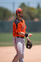 San Francisco Giants Orange third baseman Cody Brickhouse (6) during an Extended Spring Training game against the Oakland Athletics at the Lew Wolff Training Complex on May 29, 2018 in Mesa, Arizona. (Zachary Lucy/Four Seam Images)