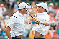 March 5, 2016: Mike and Bob Bryan of USA celebrate their win against Lleyton Hewitt and John Peers of Australia during the doubles match of the BNP Paribas Davis Cup World Group first round tie between Australia and USA at Kooyong tennis club in Melbourne, Australia. USA won in 5 sets. Photo Sydney Low