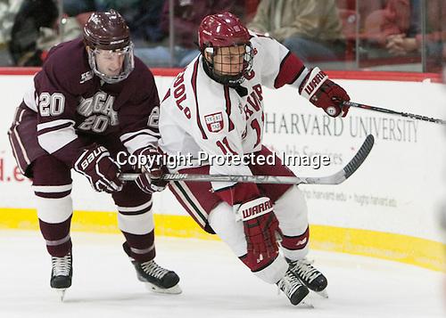 Brett Corkey (Colgate - 20), Kyle Criscuolo (Harvard - 11) - The Harvard University Crimson defeated the visiting Colgate University Raiders 7-4 (EN) on Saturday, February 20, 2016, at Bright-Landry Hockey Center in Boston, Massachusetts,