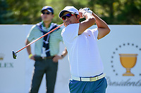 Hideki Matsuyama (JPN) watches his tee shot on 6 during round 1 foursomes of the 2017 President's Cup, Liberty National Golf Club, Jersey City, New Jersey, USA. 9/28/2017.<br /> Picture: Golffile   Ken Murray<br /> ll photo usage must carry mandatory copyright credit (&copy; Golffile   Ken Murray)