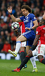 David Luiz of Chelsea  in action with Paul Pogba of Manchester United during the English Premier League match at Old Trafford Stadium, Manchester. Picture date: April 16th 2017. Pic credit should read: Simon Bellis/Sportimage