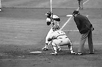 SAN FRANCISCO, CA - Joe Morgan of the San Francisco Giants bats during a game against the Los Angeles Dodgers at Candlestick Park in San Francisco, California in 1982. Photo by Brad Mangin