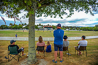 Fans watch the Secondary School Boys' First XI Cup national cricket finals match between Christchurch Boys' High School and Palmerston North Boys' High School at Fitzherbert Park in Palmerston North, New Zealand on Friday, 8 December 2017. Photo: Dave Lintott / lintottphoto.co.nz