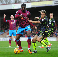 Scunthorpe United's Hakeeb Adelakun vies for possession with Bristol Rovers' Stuart Sinclair<br /> <br /> Photographer Chris Vaughan/CameraSport<br /> <br /> The EFL Sky Bet League One - Scunthorpe United v Bristol Rovers - Saturday 11th November 2017 - Glanford Park - Scunthorpe<br /> <br /> World Copyright &copy; 2017 CameraSport. All rights reserved. 43 Linden Ave. Countesthorpe. Leicester. England. LE8 5PG - Tel: +44 (0) 116 277 4147 - admin@camerasport.com - www.camerasport.com