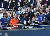 19th May 2018, Wembley Stadium, London, England; FA Cup Final football, Chelsea versus Manchester United; Chelsea Manager Antonio Conte lifts the FA Cup with his players on the gantry