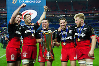 Duncan Taylor, Michael Rhodes, Jamie George, Chris Wyles and Jackson Wray of Saracens celebrate with the European Rugby Champions Cup trophy. European Rugby Champions Cup Final, between Saracens and Racing 92 on May 14, 2016 at the Grand Stade de Lyon in Lyon, France. Photo by: Patrick Khachfe / Onside Images