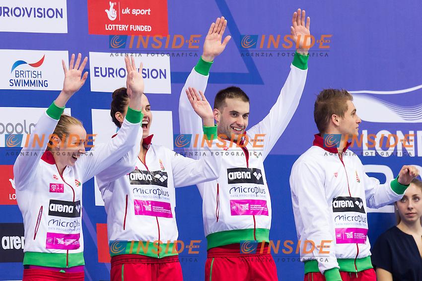 Team HUN HUNGARY bronze medal<br /> London, Queen Elizabeth II Olympic Park Pool <br /> LEN 2016 European Aquatics Elite Championships <br /> Swimming<br /> Mixed 4x100m medley final <br /> Day 09 17-05-2016<br /> Photo Giorgio Perottino/Deepbluemedia/Insidefoto