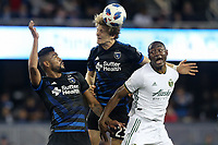 San Jose, CA - Saturday May 05, 2018: Anibal Godoy, Florian Jungwirth during a Major League Soccer (MLS) match between the San Jose Earthquakes and the Portland Timbers at Avaya Stadium.