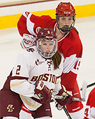 Grace Bizal (BC - 2), Mary Parker (BU - 15) - The Boston College Eagles defeated the visiting Boston University Terriers 5-3 (EN) on Friday, November 4, 2016, at Kelley Rink in Conte Forum in Chestnut Hill, Massachusetts.The Boston College Eagles defeated the visiting Boston University Terriers 5-3 (EN) on Friday, November 4, 2016, at Kelley Rink in Conte Forum in Chestnut Hill, Massachusetts.
