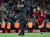 Liverpool manager Jurgen Klopp and Andrew Robertson applaud the fans at the final whistle<br /> <br /> Photographer Rich Linley/CameraSport<br /> <br /> The Premier League - Liverpool v Manchester City - Sunday 7th October 2018 - Anfield - Liverpool<br /> <br /> World Copyright &copy; 2018 CameraSport. All rights reserved. 43 Linden Ave. Countesthorpe. Leicester. England. LE8 5PG - Tel: +44 (0) 116 277 4147 - admin@camerasport.com - www.camerasport.com