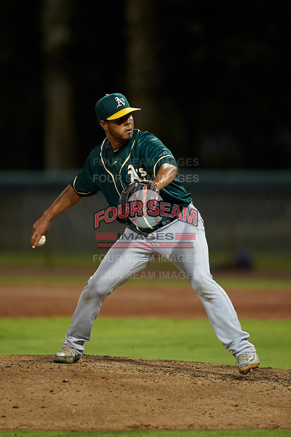 AZL Athletics Green relief pitcher Jesus Monserratt (47) during an Arizona League game against the AZL Dodgers Lasorda at Camelback Ranch on June 19, 2019 in Glendale, Arizona. AZL Dodgers Lasorda defeated AZL Athletics Green 9-5. (Zachary Lucy/Four Seam Images)