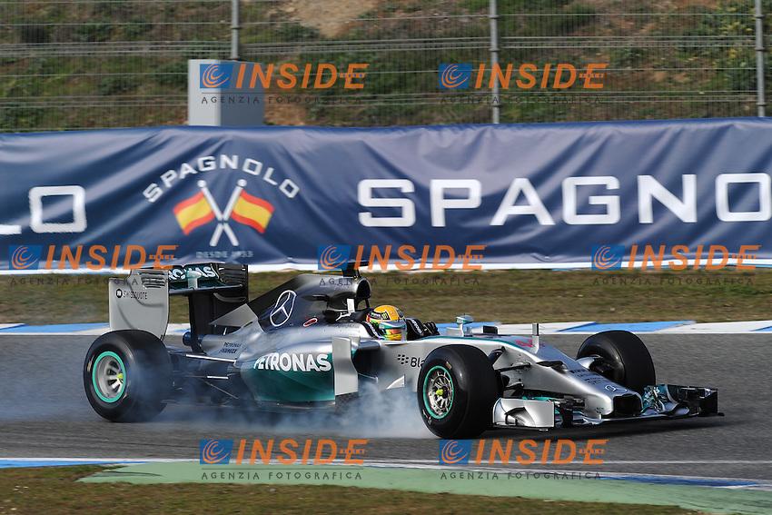 BRITISH LEWIS HAMILTON ON AMG MERCEDES W05 <br /> Jerez 28/01/2014<br /> Formula 1 Test <br /> Foto Insidefoto