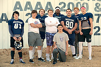 NWA Democrat-Gazette/ANDY SHUPE<br /> Greenwood football players, and their mustaches, pose Tuesday, Nov. 27, 2018, outside the Bulldogs' fieldhouse in Greenwood. Greenwood takes on Benton at noon Saturday.