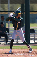 Oakland Athletics outfielder Jeramiah McCray (4) during a Minor League Spring Training game against the Chicago Cubs at Sloan Park on March 19, 2018 in Mesa, Arizona. (Zachary Lucy/Four Seam Images)