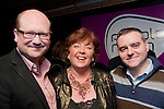 Gerald Nash, pictured with Linda Belwoods and Cormac Bohan, at his Celebratory party in the Purple Room..Picture: Shane Maguire / www.newsfile.ie.