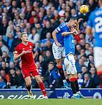28.09.2018 Rangers v Aberdeen: Nikola Katic and Borna Barisic clear from Sam Cosgrove