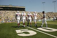 2 September 2006: (L-R) Brandon Harrison, Mark Bradford, Trevor Hooper, Trent Edwards during Stanford's 48-10 loss to the Oregon Ducks at Autzen Stadium in Eugene, OR.