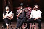 "Lauren Boyd, Anthony Lee Medina and Giuseppe Bausilio during the eduHAM Q & A before The Rockefeller Foundation and The Gilder Lehrman Institute of American History sponsored High School student #EduHam matinee performance of ""Hamilton"" at the Richard Rodgers Theatre on November 20, 2019 in New York City."