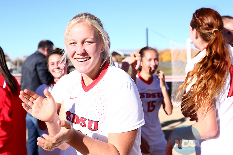 09 NOV 2013: SDSU takes on Boise State during Game 7, the final match of the Mountain West Conference Women's Soccer Championship held at the UNM Soccer Complex in Albuquerque, NM. SDSU beat Boise State 1-0 in regular time to claim the MWC trophy. (Juan Labreche/NCAA Photos)