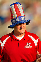 Kannapolis Intimidators General Manager Randy Long gets into the 4th of July spirit prior to the South Atlantic League game against the Greensboro Grasshoppers at CMC-Northeast Stadium on July 4, 2012 in Kannapolis, North Carolina.  The Intimidators defeated the Grasshoppers 6-1.  (Brian Westerholt/Four Seam Images)
