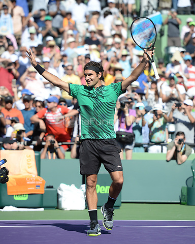 KEY BISCAYNE, FL - MARCH 27 : Roger Federer Vs Juan Martin Del Potro during the Miami Open at Crandon Park Tennis Center on March 27, 2017 in Key Biscayne, Florida. Credit: mpi04/MediaPunch