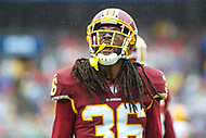 Landover, MD - September 23, 2018: Washington Redskins defensive back D.J. Swearinger (36) screams after making a tackle during the  game between Green Bay Packers and Washington Redskins at FedEx Field in Landover, MD.   (Photo by Elliott Brown/Media Images International)