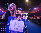 18.12.2014.  London, England.  William Hill PDC World Darts Championship. Darts fans at the 2015 William Hill World Darts Championship.