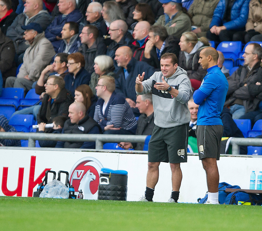Preston North End's Manager Graham Westley and Dino Maamria, First Team Coach confer during the first half..Football - npower Football League Division One - Oldham Athletic v Preston North End - Saturday 6th October 2012 - Boundary Park - Oldham..