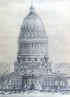 Burnham Plan:  Chicago--The Proposed Civic Center, elevation.  P. 112.