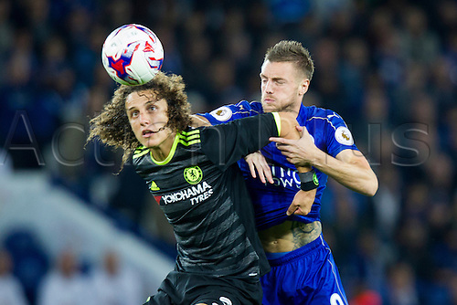 20.09.2016. King Power Stadium, Leicester, England. Football League Cup Football. Leicester City versus Chelsea. Jamie Vardy of Leicester City tangles with David Luiz of Chelsea.