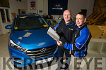 Tralee Adams Garage Hyundai officially Number one in Ireland for Car Sales Pictured Noel O'Connor and Liam Shanahan with the official Letter