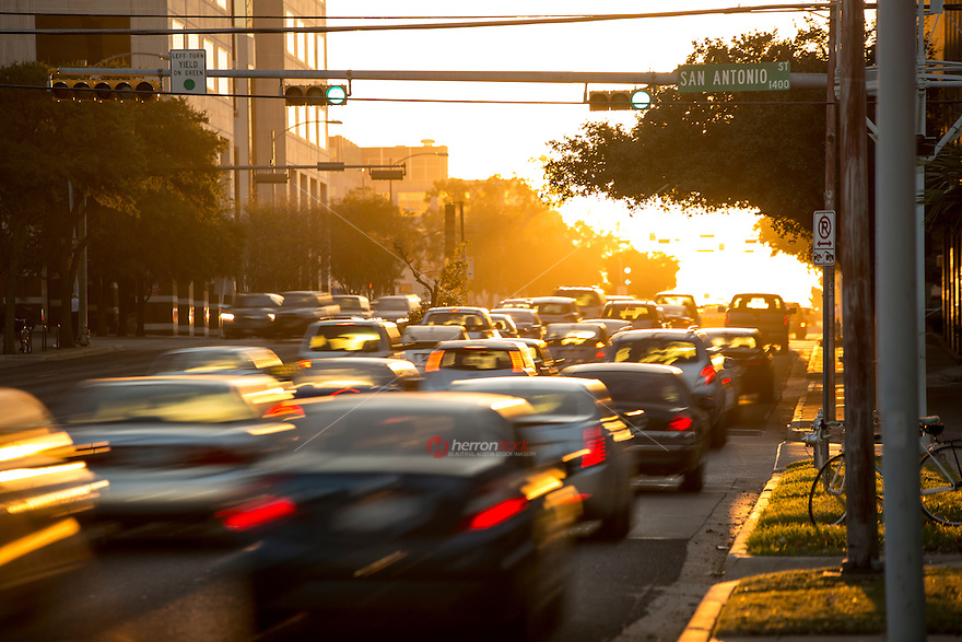 Traffic jams are a rite of passage in downtown Austin Texas as the city suffers and name worst traffic city in US.