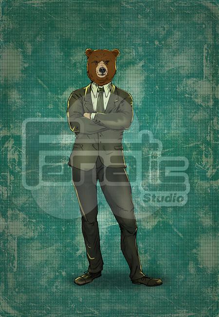 Illustrative image of bearish business man