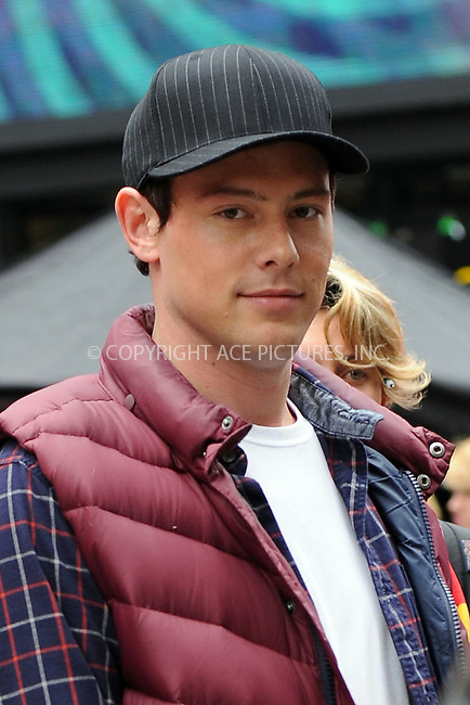 WWW.ACEPIXS.COM . . . . . ....April 25 2011, New York City....Actor Cory Monteith on the set of the hit TV show 'Glee' in Times Square on April 25 2011 in New York City....Please byline: KRISTIN CALLAHAN - ACEPIXS.COM.. . . . . . ..Ace Pictures, Inc:  ..(212) 243-8787 or (646) 679 0430..e-mail: picturedesk@acepixs.com..web: http://www.acepixs.com