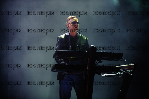 DEPECHE MODE - keyboardist Andy Fletcher - performing live at Staples Center in Los Angeles, CA USA on September 28, 2013.  Photo Credit: Kevin Estrada / IconicPix