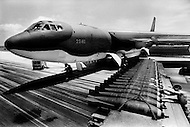 June 1972, Guam --- The Andersen Air Force Base on Guam Island from where the B-52 Stratofortress planes take off for Vietnam. 500 and 750lb (pound) bombs in storage near the base.