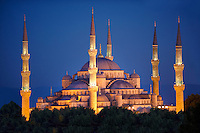 The Sultan Ahmed Mosque (Sultanahmet Camii) or Blue Mosque, Istanbul, Turkey at night. Built from 1609 to 1616 during the rule of Ahmed I.