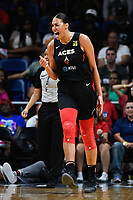 Washington, DC - July 13, 2019: Las Vegas Aces center Liz Cambage (8) is fired up after a big basket late in the 4th quarter of the game between Las Vegas Aces and Washington Mystics at the Entertainment & Sports Arena in Washington, DC. The Aces defeated the Mystics 81-85. (Photo by Phil Peters/Media Images International)