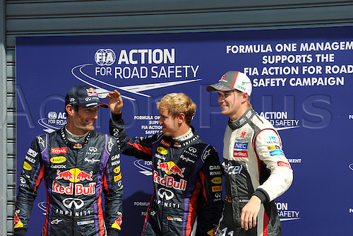 07.09.2013. Monza, Lombardy, Italy. F1 grand prix of Italy. Qualification day.  POLE POSITION FOR GERMAN SEBASTIAN VETTEL of REDBULL RENAULT RB9 with TEAMMATE MARK WEBBER AND THIRD from SAUBER, GERMAN NICO HULKENBERG.