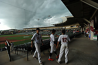 NWA Democrat-Gazette/ANDY SHUPE<br /> Nashville players exit the field Friday, May 19, 2017, during the Class 4A state championship game with Shiloh Christian at Baum Stadium in Fayetteville. Visit nwadg.com/photos to see more photographs from the game.