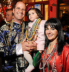 Grant Mitchell with his wife Tiziana and their daughter Giorgia at the Mardi Gras Ball at the Tremont House in Galveston Saturday Feb. 13,2010.(Dave Rossman Photo)