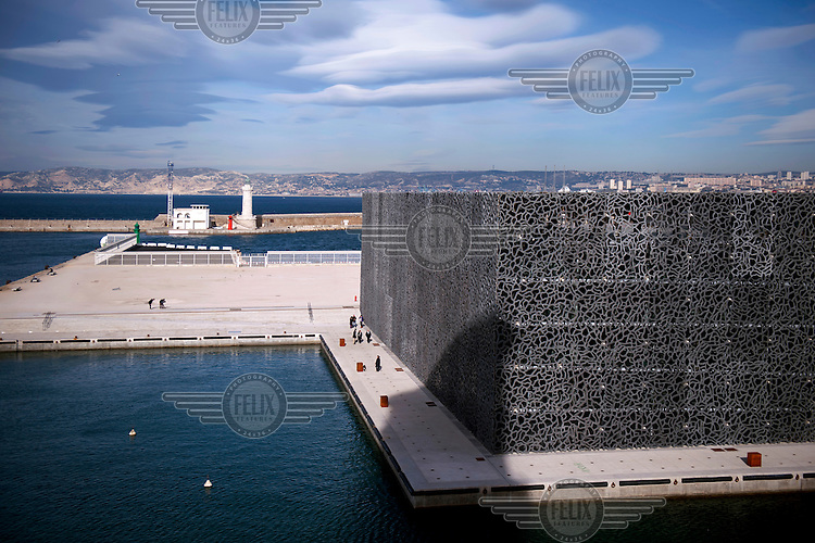 The Museum of European and Mediterranean Civilisations (MuCEM), by architect Rudy Ricciotti, seen from the Promenade Louis Brauquier.