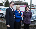 © Joel Goodman - 07973 332324 . 15/01/2015 . Stockport , UK . Deputy Prime Minister Nick Clegg (l) meets residents of Hazel Grove and Lib Dem PPC Lisa Smart (centre) , who is standing in place of outgoing Lib Dem MP for Hazel Grove , Andrew Stunell . Photo credit : Joel Goodman