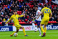 Leicester City's forward Demarai Gray (7) for England U21's  passes through the defence during the International Euro U21 Qualification match between England U21 and Ukraine U21 at Bramall Lane, Sheffield, England on 27 March 2018. Photo by Stephen Buckley / PRiME Media Images.